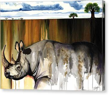 Canvas Print featuring the mixed media Rhino I Rooted Ground by Anthony Burks Sr