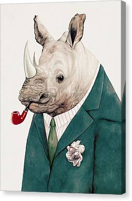 Rhino In Teal Canvas Print by Animal Crew
