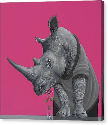 Rhino Canvas Print by Jasper Oostland
