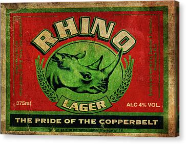 Canvas Print featuring the digital art Rhino Lager by Greg Sharpe