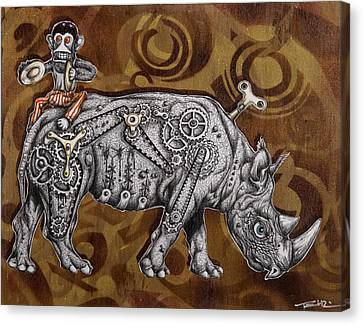 Rhino Mechanics Canvas Print by Tai Taeoalii