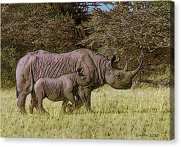Rhino Mother And Calf Canvas Print