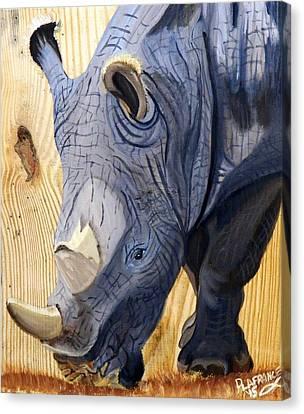 Rhino On Wood Canvas Print