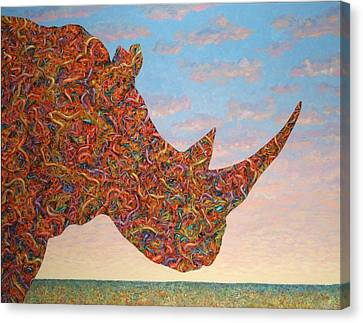 Rhino-shape Canvas Print by James W Johnson