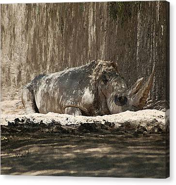 Canvas Print featuring the digital art Rhino by Walter Chamberlain