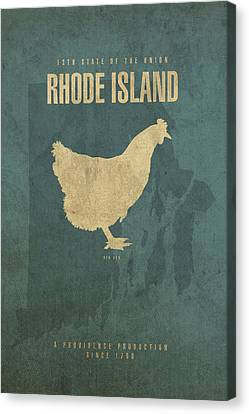 Rhode Island Map Canvas Print - Rhode Island State Facts Minimalist Movie Poster Art by Design Turnpike