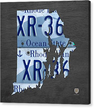 Rhode Island Map Canvas Print - Rhode Island State License Plate Map Recycled Car Tag Art by Design Turnpike