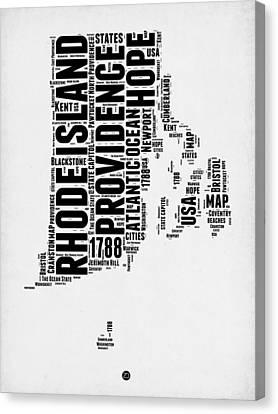 Rhode Island Word Cloud 1 Canvas Print by Naxart Studio