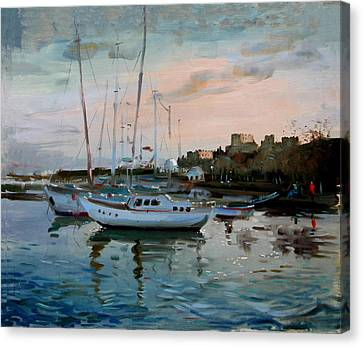 Rhodes Mandraki Harbour Canvas Print by Ylli Haruni
