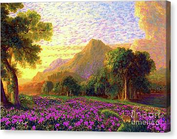 Rhododendrons, Rabbits And Radiant Memories Canvas Print