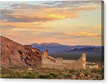 Canvas Print featuring the photograph Rhyolite Bank At Sunset by James Eddy