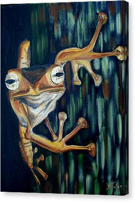 Canvas Print featuring the painting Ribbit by Donna Tuten