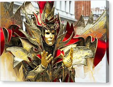 Ribbon Man 2015 Carnevale Di Venezia Italia Canvas Print by Sally Rockefeller