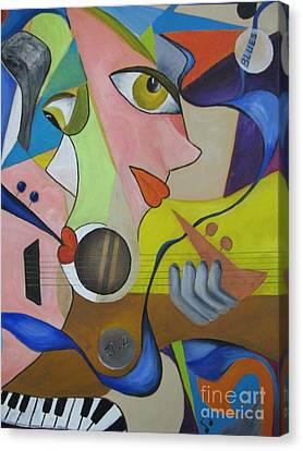 Canvas Print featuring the painting Ribbon Of Blues And Jazz by Anna-maria Dickinson