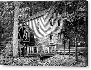 Grist Mill Canvas Print - Rice Grist Mill - Norris Dam State Park - Tennessee - Black And White by Gregory Ballos