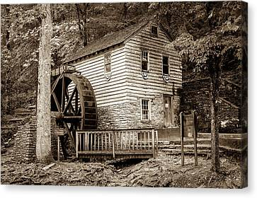 Old Mills Canvas Print - Rice Grist Mill - Norris Dam State Park - Tennessee - Sepia by Gregory Ballos