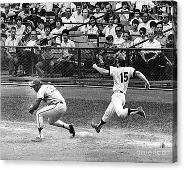 Rich Severson Beats Thurman Munson For The Out. 1970 Canvas Print by William Jacobellis