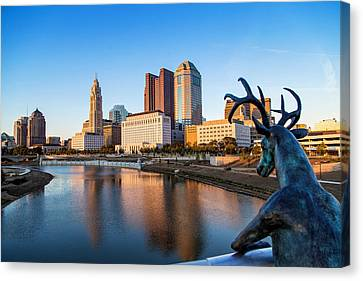 Rich Street Bridge Columbus Canvas Print by Alan Raasch