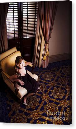 Rich Wealthy Woman Sitting In Upmarket Hotel  Canvas Print by Jorgo Photography - Wall Art Gallery