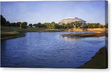 Ballpark Canvas Print - Richard Greene Linear Park And Att Stadium by Joan Carroll
