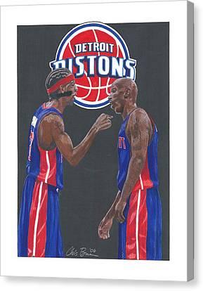 Mr. Basketball Canvas Print - Richard Hamilton And Chauncey Billups by Chris Brown