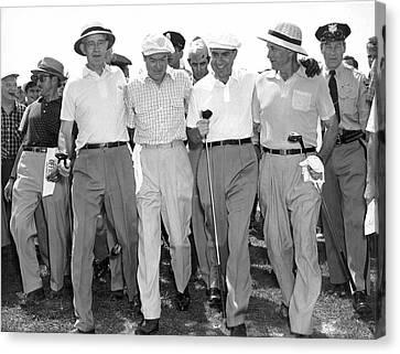 Richard Nixon Playing Golf Canvas Print by Underwood Archives