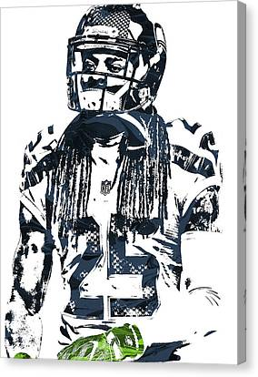 Richard Sherman Seattle Seahawks Pixel Art 4 Canvas Print by Joe Hamilton