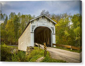 Richland Creek Covered Bridge Canvas Print by Jack R Perry