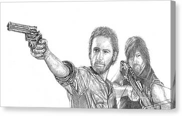 Rick And Daryl Canvas Print by Jennifer Campbell Brewer