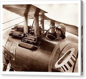 Rickenbacker And His Spad Xiii 1918 Canvas Print by US Signal Corp