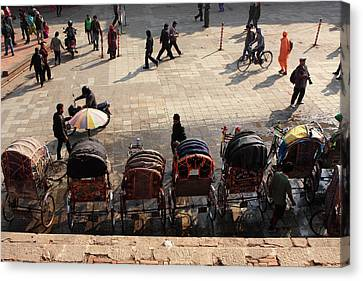 Tibetan Buddhism Canvas Print - Rickshaw Taxis In Durbar Square by Aidan Moran
