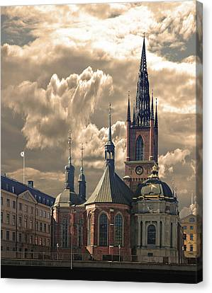 Canvas Print featuring the photograph Riddarholm Church - Stockholm by Jeff Burgess