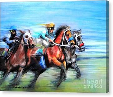 Canvas Print featuring the painting Ride Like The Wind by Patricia L Davidson
