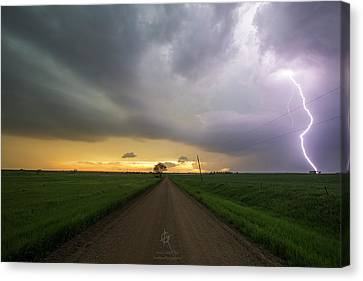 Gravel Road Canvas Print - Ride The Lightning 2016 by Aaron J Groen