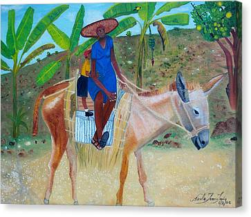 Canvas Print featuring the painting Ride To School On Donkey Back by Nicole Jean-Louis