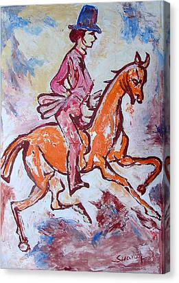 Canvas Print featuring the painting Rider And Horse by Anand Swaroop Manchiraju