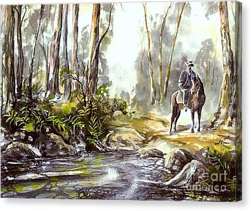 Rider By The Creek Canvas Print