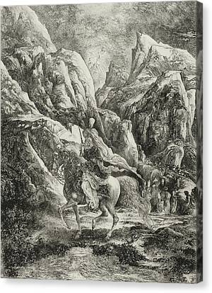Mountain Canvas Print - Rider In The Mountains by Rodolphe Bresdin