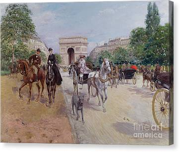 Riders And Carriages On The Avenue Du Bois Canvas Print by Georges Stein