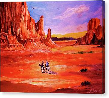 Riders In The Valley Of The Giants Canvas Print