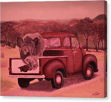 Calling The Hogs Canvas Print - Ridin' With Razorbacks 3 by Belinda Nagy