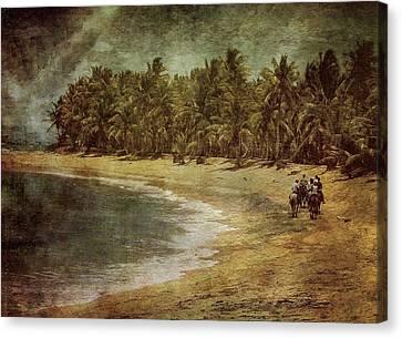 Riding On The Beach Canvas Print