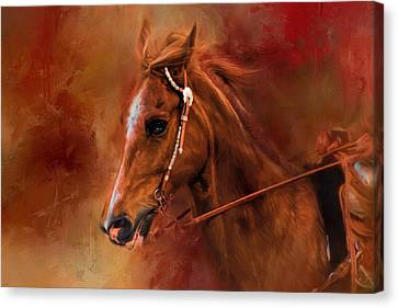 Bay Horse Canvas Print - Riding The Autumn Breeze Horse Art by Jai Johnson