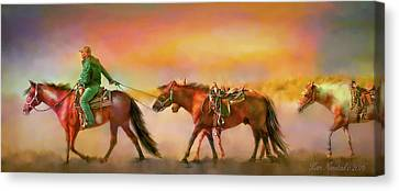 Riding The Surf Canvas Print by Kari Nanstad