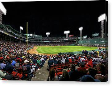 Canvas Print featuring the photograph Right Field Of Boston Fenway Park by Juergen Roth