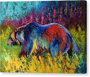 Right Of Way - Grizzly Bear Canvas Print by Marion Rose