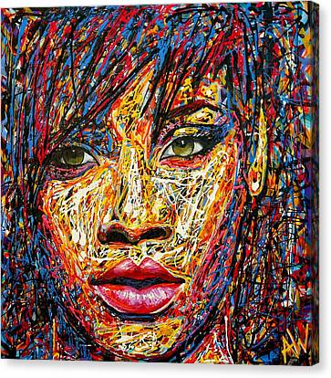 Rihanna Canvas Print by Angie Wright
