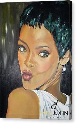 Rihanna Kiss Canvas Print by Zalika Ledeatte- Williams