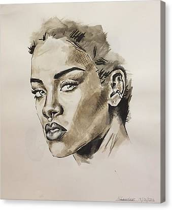 Rihanna  Canvas Print by Megan Lawless