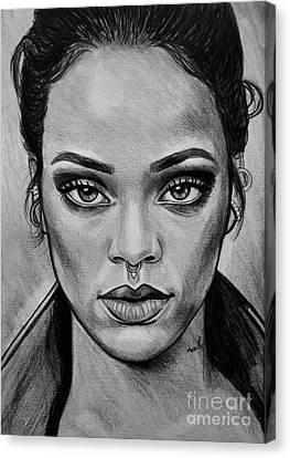 Rihanna Portrait Canvas Print by Ornella Di Scala